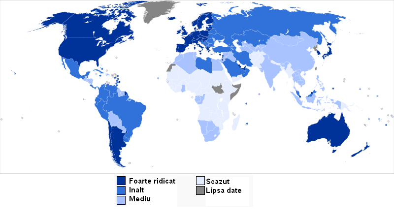 Indicele de Dezvoltare Umană (sursa: http://en.wikipedia.org Human Development Report)