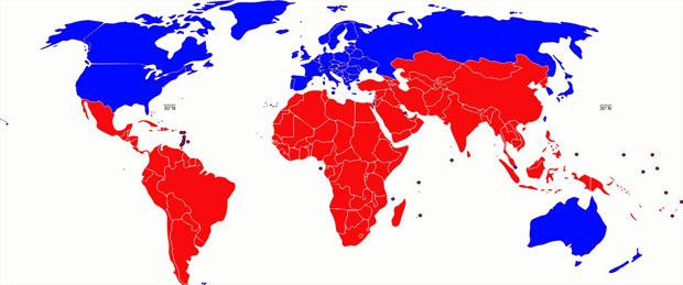 Fig. 5: Repartiţia ţărilor: Nord - Sud